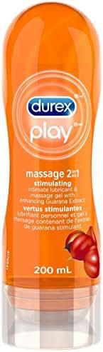 Lubricant, Durex Massage Gel & Personal Lubricant, Durex Massage & Play 2 in 1 Lubricant, 6.76 oz, Intensify with Enhancing Guarana