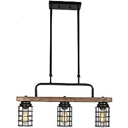 Baiwaiz Farmhouse Kitchen Island Lighting, Wood Linear Rustic Chandelier Metal Cage Pendant Lighting 3 Lights Edison E26 068
