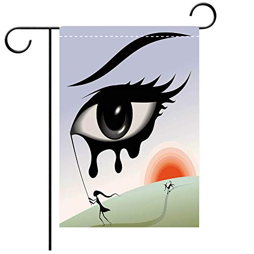 Artistically Designed Yard Flags, Double Sided Eye Surreal Avant Garde Art Composition Girl Runs with Eye Stick Tears Sunset Dog Image Decorative Multicolor Best for Party Yard and Home Outdoor Decor