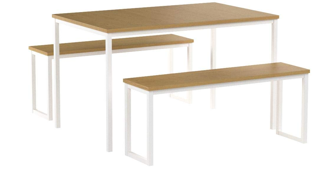 Zinus Louis Modern Studio Collection Soho Dining Table with Two Benches / 3 piece set, White by Zinus (Image #6)