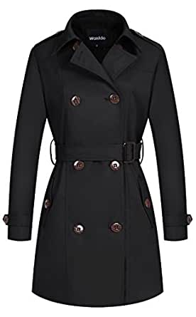 Wantdo Women's Double-Breasted Long Trench Coat with Belt(Black,X-Small)