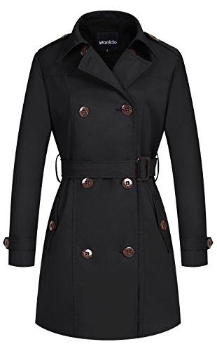 Wantdo Women's Double-Breasted Long Trench Coat with - Womens Storm Jacket Front