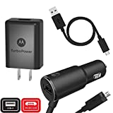 Motorola TurboPower Micro-USB Essentials Bundle: TurboPower 25 Car Charger & TurboPower 15+ Wall Charger with 1 SKN6461A data cable for Moto X Pure, Droid Turbo 2, Moto G5 Plus (Retail Box)
