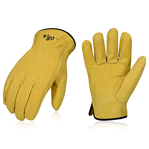 (Vgo 3Pairs Unlined Top Grain Leather Work and Driver Gloves (SizeL,Gold,PA9501))