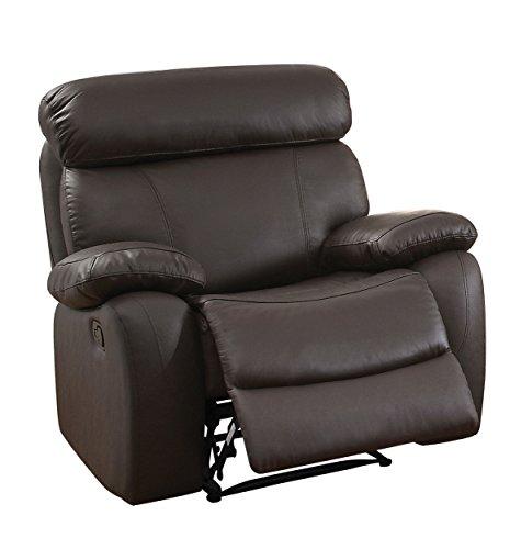 Homelegance Pendu Reclining Chair Top Grain Leather Match, Brown