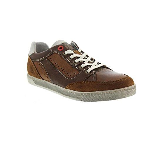 Australische Schoeisel Sneaker, Vancouver Leer (nubuk- / Glattl.), Cogn-wit, Wechself, 15.1124.05 Cognac-wit
