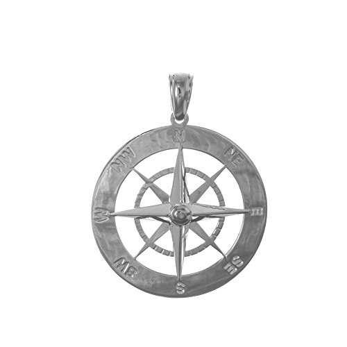 925 Sterling Silver Nautical Charm Pendant, Large Round 2D Compass, High Polish