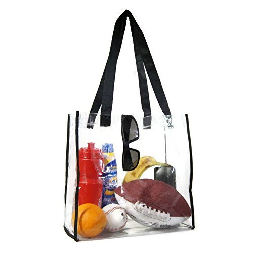 Large Clear Tote Bag, NFL Football Stadium Approved with Handles 12x12x6 for Men and Women, Clear Vinyl with Black Trim Nfl Bag Tote Backpack