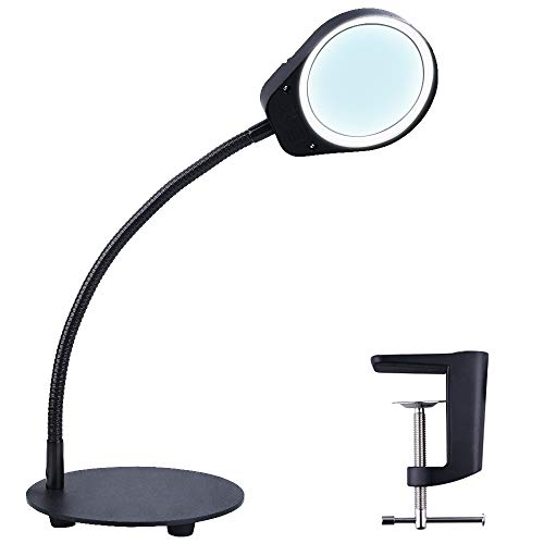 (Psiven Dimmable Magnifying Glass with Light - Daylight Bright LED Magnifying Desk Lamp, Lighted Magnifier with Stand & Clamp - for Reading, Close Work, Task, Workbench, Crafts, Hobbies, Sewing -)
