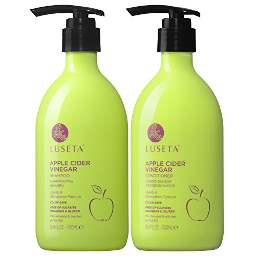 Luseta Apple Cider Vinegar Shampoo and Conditioner Set for Damaged and Oily Hair, 2x16.9oz