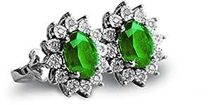 Liali 18k White Gold Emerald Earring [EM1002-PE1]