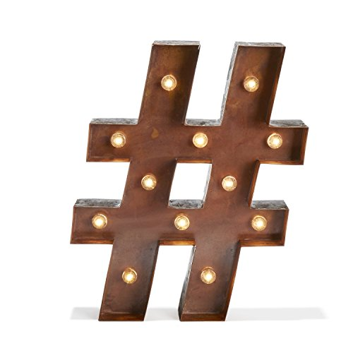 Vintage Metal 12 Bright Warm White LEDs Marquee Hashtag Symbol Battery Light with Timer- Batteries Included, Great Holiday Gift!
