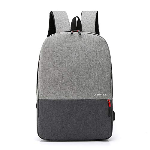 746 Oxford - Huanxin Men's and Women's Travel Backpack, with USB Charging Port, Breathable Shoulder Strap, Oxford Cloth Waterproof and Wear-Resistant Computer Backpack, Suitable for 17.3 Inch Laptop,Gray