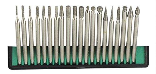 - Generic 20 Piece Diamond Bur Set for Rotary Tool - Glass, Stone, Ceramic