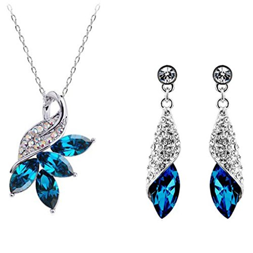 MAFMO Exquisite Austria Crystal Maple Leaf Necklace Earrings 2pcs Jewelry Set (Peacock Blue) (Peacock Wedding Colors)