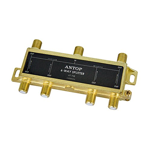 ANTOP 6 Way Coaxial Splitter for TV Antenna and Satellite 18K Gold-Plated Chassis 2GHz - 5-2050MHz All Port DC Power Passing ()