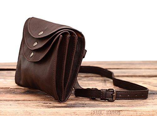 In Paul Pelle Minaudière Tre Vintage La Marius Stile Modello Borsa Scuro Scomparti Marrone rrEHaq
