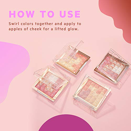 FLOWER BEAUTY HIGHLIGHTER AND BLUSH MAKEUP POWDER FOR FACE AND CHEEKS, PYRAMID PRESSED PIGMENTS CHEEK COLOR AND ILLUMINATOR (ROSE GLOW)