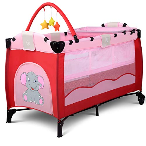 - BABY JOY Baby Crib Foldable Playpen Portable Playard Pack Travel Infant Bassinet Bed with 2 Lockable Wheels Diaper Changing Table and Baby Toys (Pink)