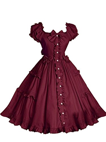 NuoqiWomens Lolita Dress Princess Falbala Skirt Wine Red Cosplay Costume CC32C-L - Costume De Falbala