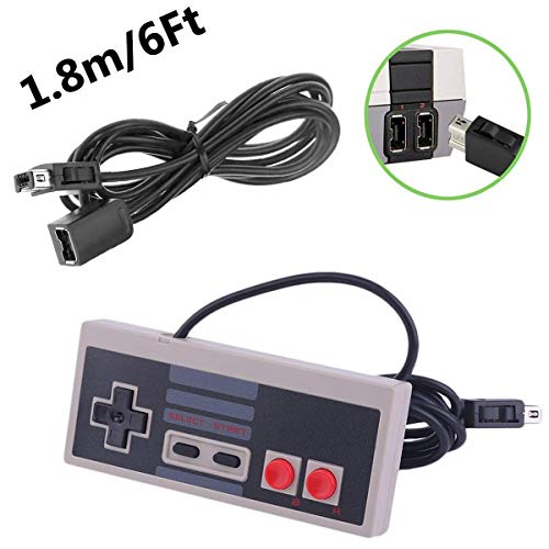 NES Classic Edition Mini Controller with Extra 6-Feet Cable [Turbo Edition] Rapid Buttons for Nintendo Gaming System [Nintendo NES] (Wired)