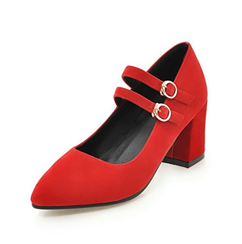 VogueZone009 Women's Frosted Kitten-Heels Pointed-Toe Solid Buckle Pumps-Shoes Red mPJf3