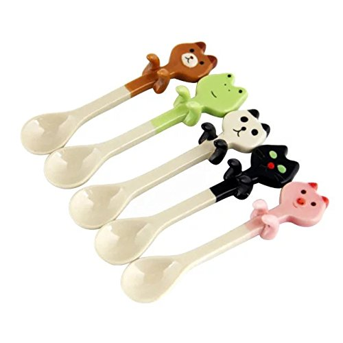 2Pcs Cute Baby Ceramic Dessert Spoon of Fresh Animal Can Be Hanging Children Tea Coffee Feeding Small Spoon Kawaii for Boys Girls - Spoons Plated Soup Place