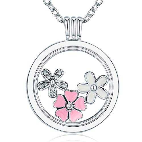 QMM necklace Pendant 925 Sterling Silver Tropical Paradise Petites,Mixed Enamel Cz Memories Floating Box Necklaces & Pendants Luxury Jewelry,B