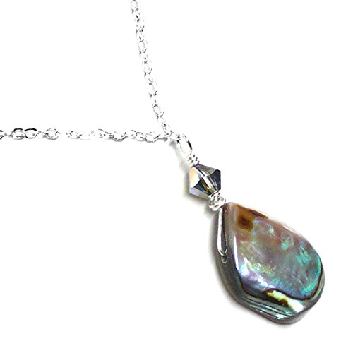 Abalone Teardrop Dainty Chain Necklace Sterling Silver 18 Inches ()