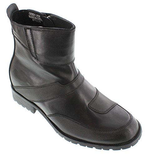 CALTO G6251-3.3 inches Taller - Size 9 D US - height Increasing Elevator Shoes (Black Leather Zipper Ankle (D&g Velcro Shoes)