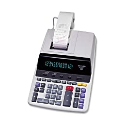 Sharp EL-2630PIII 12 Digit Commercial Printing Calculator, 2-Color Ribbon Printer, White