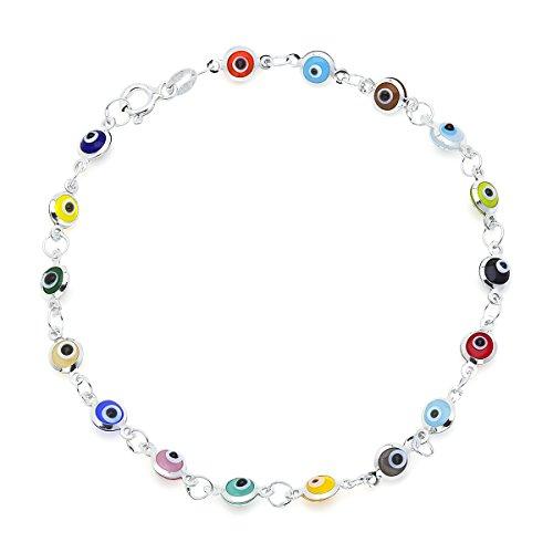 D Jewelry Multi-Colored Guardian Eye Beads on 925 Sterling Silver Bracelet 7.5