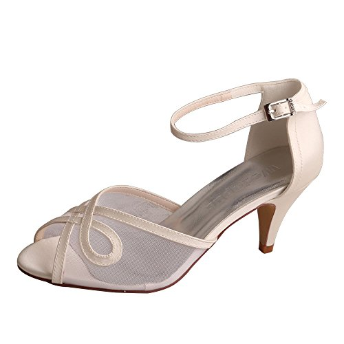 Ivory Wedopus Wedding Evening Cone Pumps Women Toe Shoes Ankle Heels Bridal WD7009 Strap Peep Prom Buckle ZxrqwHZTF