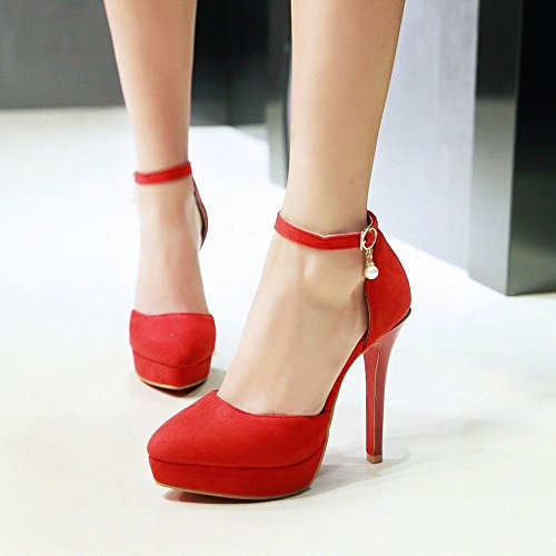 Charm Foot Womens Pointed Toe High Heel Ankle Strap DOrsay Shoes Red kkMuomcjXm