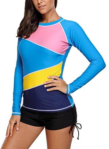 eb31dca1bd HOTAPEI Womens Long Sleeve Rash Guard Tops Swimwear Rash Guard Swimsuit Swim  Shirt S-XXXL
