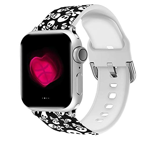 Uhada Compatible Apple Watch Series 4/3/2/1 Band 38mm 40mm 42mm 44mm, Choose Color-Soft Silicone Fashion Classic Slim Sports Replacement for iWatch Bands (Flower-02, 42mm/44mm)