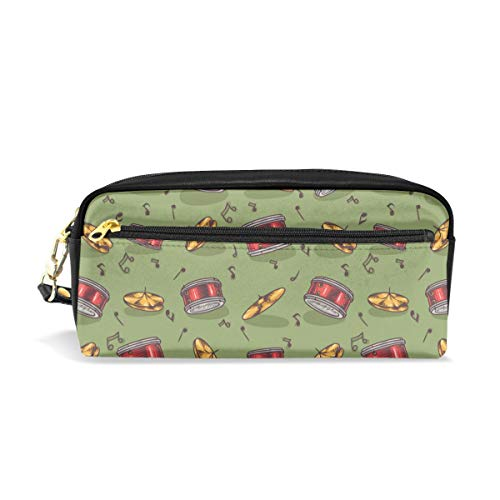 Music Cymbals Drums Green Pencil Case Gift Students Canvas Pen Bag Pouch Stationary Case Makeup Cosmetic Bag