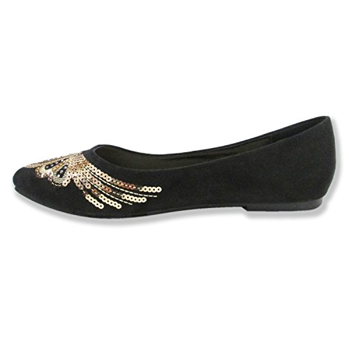 Olivia Miller Womens Eva All Over Sequin Pattern Pointy Toe Ballet Flats Black euLdOz2eo