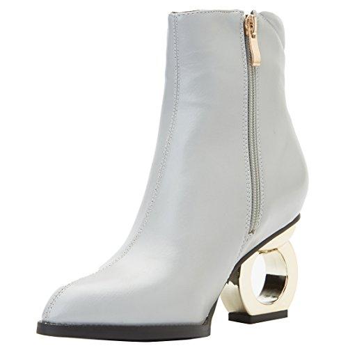 AIYOUMEI Damen Blockabsatz Klassischer Stiefel Reißverschluss Stiefeletten mit 8cm Absatz High Heels Elegant Stiefel d0rX2o1e