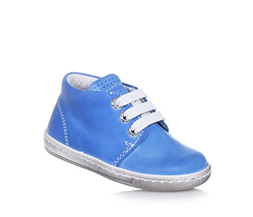 PANDA - Chaussure à lacets bleu clair, en cuir, made in Italy, style moderne, lacets blancs, garçon, garçons