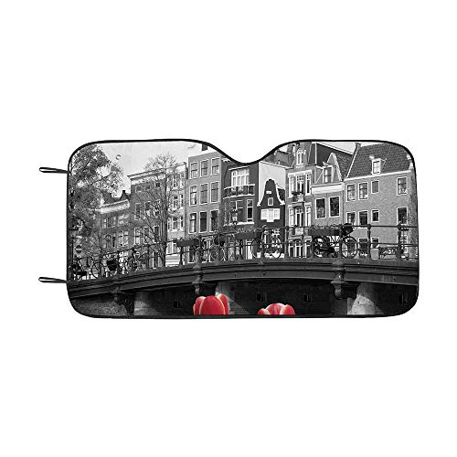 - Black and White Decorations Durable Car Sunshade,Monochrome Photo of Amsterdam Canal with Red Tulips Houses Decorative for car,55