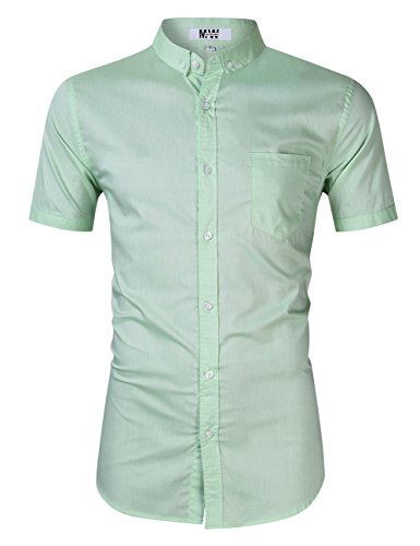 (MrWonder Men's Casual Slim Fit Button Down Dress Shirt Long Sleeve Solid Oxford Shirt (M, Short Sleeve Green))
