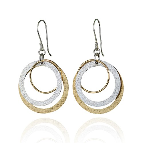 14k Gold Circle Earrings - Two Tone Multi Hoop Dangle Earrings 925 Sterling Silver and 14k Gold Filled Circles Earring