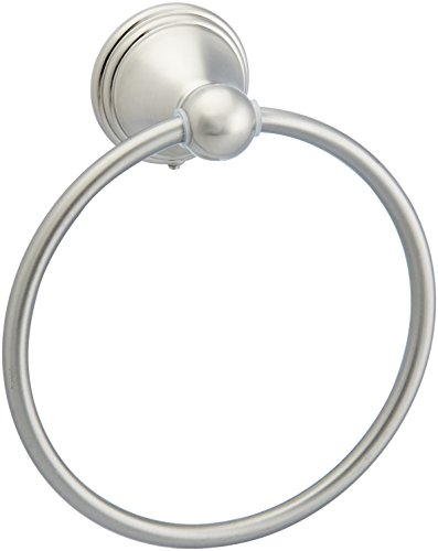 AmazonBasics Modern Bathroom Hand Towel Ring, Satin Nickel (Hand Towel Bar)