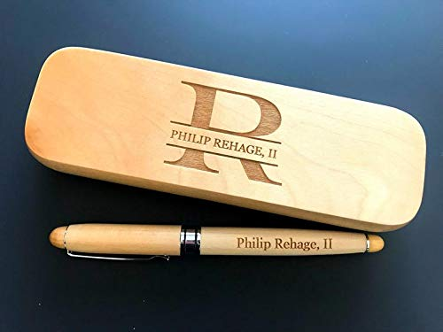 Natural Willow Wood Light Monogram Engraved Wood Pen with Storage Gift Box