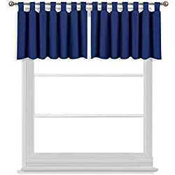 NICETOWN Kitchen Window Curtain Set - Home Fashion 52W x 18L Tab Top Valances Short Window Drapes for Small Window (Royal Navy Blue, 2 Pieces)