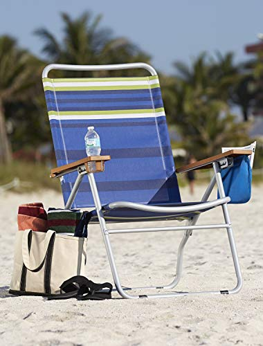 Extra-Wide Mesh Folding Beach Chair Blue Stripe