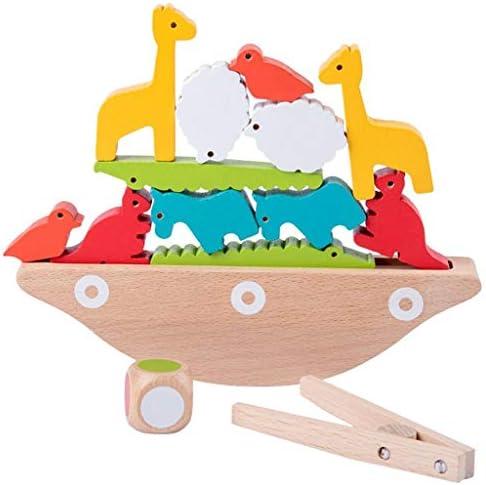 動物色のビルディング・ブロックパズル木製アニマルパイルパイル音楽子供の木製卓上ゲームのおもちゃ