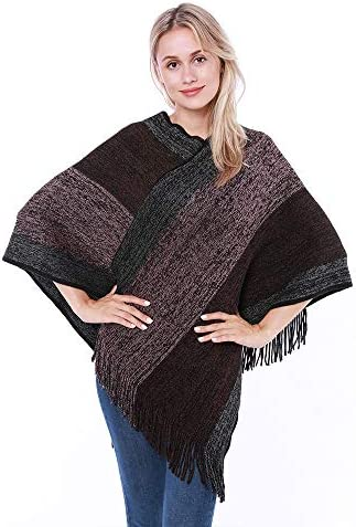 Women Elegant Knitted Shawl Poncho with Fringed VNeck Striped Sweater Pullover Cape Gifts for Women