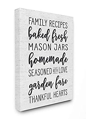 Stupell Industries Family Recipes Baked Fresh Garden Mason Jars Subtle Birch Typography Canvas Wall Art, 30 x 40, Multi-Color